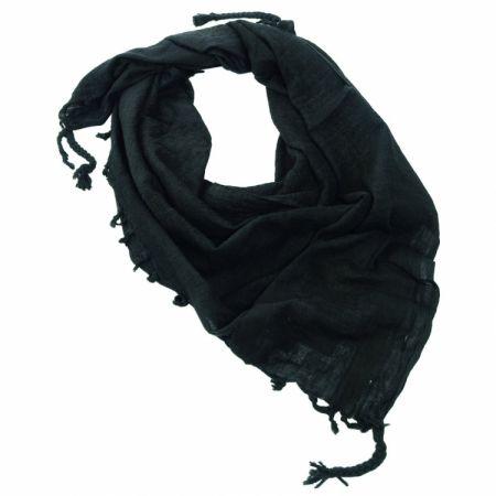 Echarpe Shemagh Keffieh (Kéfié) Cheche Noir Uni 110x110cm - Couvre Tete - Miltec 12618000