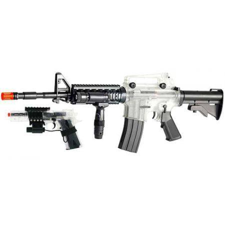 Fusil Colt M4 A1 AEG RIS Full Stock Transparent + Pistolet Spring Colt MK IV - 18981