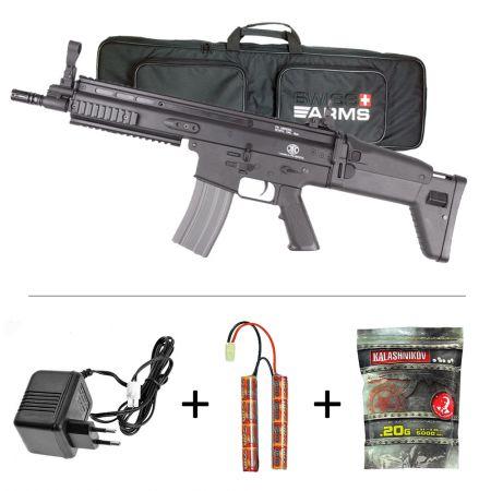 Fusil FN Herstal SCAR-L Classic Army AEG Noir (200932) + Housse de Transport + Batterie NiMH 9.6v - 1600mAh + Chargeur + 5000 Billes 0.20g