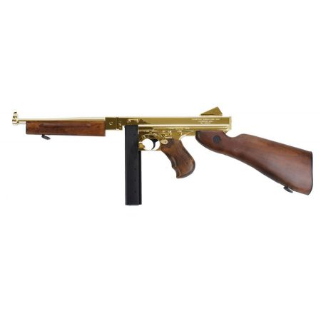 Fusil King Arms Thompson M1928 M1A1 M1 A1 Military Full Metal & Bois - Gold - KA-AG-66-GD