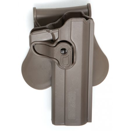 Holster Paddle CQC Tan Rigide Polymere Noir Droitier Replique Type 1911 - Rotatif - 18429