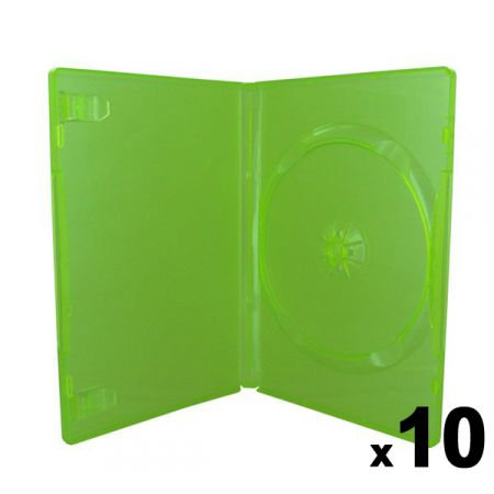 Lot de 10 boitiers Vert Translucide CD / DVD / Jeux Video Xbox 360