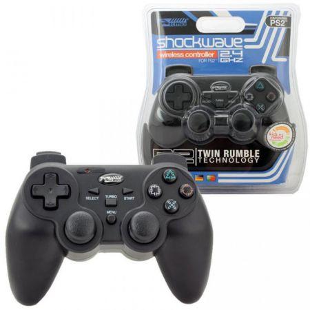 Manette Noire Sans Fil Pour Console Ps2 - Analogique & Vibrante