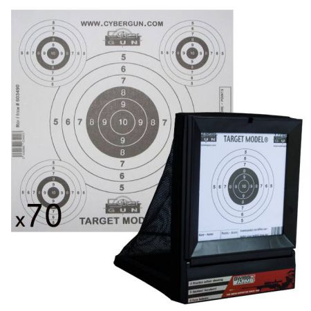 Pack Cible Avec Filet Swiss Arms 250x185mm (603404) + 70 Cibles Papier 175x175 mm Blanches Cybergun (603490)