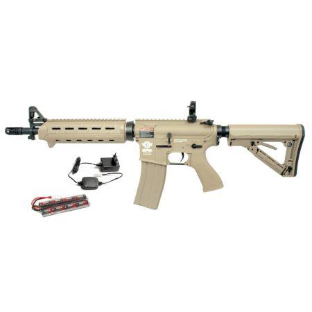 Pack Fusil Carbine CM16 MOD0 (CM 16 M4) G&G AEG TAN (S10103) + Batterie + Chargeur secteur