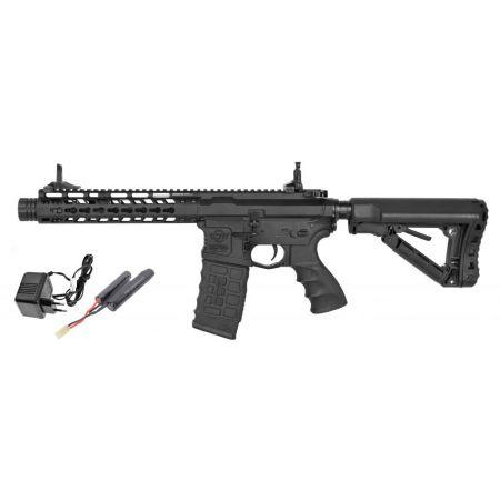 Pack Fusil Carbine G&G CM16 CM 16 M4 Wild Hog 9 AEG Noir  + Batterie + Chargeur Secteur