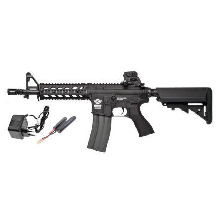 Pack Fusil Carbine G&G M4 CM 16 CM16 Raider AEG Court Noir + Batterie + Chargeur Secteur