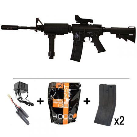 Pack Fusil Colt Carbine M4A1 AEG Classic Army (SP001P) + Red Dot + Silencieux + Poignée Verticale / Bipied + 2 Chargeurs 300 Billes + Sachet 4000 Billes 0.25g