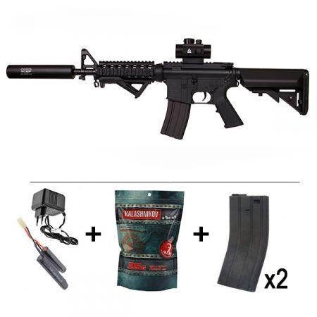 Pack Fusil Colt M4 CQB RIS AEG Metal & Fibre de Nylon (180839) + Viseur Type ACOG + Silencieux + Poignée Angulaire + Batterie NiMH 9.6v - 1600 mAh + 2 Chargeurs 300 Billes + Sachet 4000 Billes 0.25g