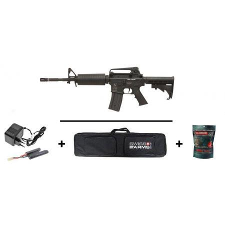 Pack Fusil Colt M4A1 (M4 A1) Electrique AEG Noir (180800) + Housse de Transport + Sachet 5000 Billes 0.20g