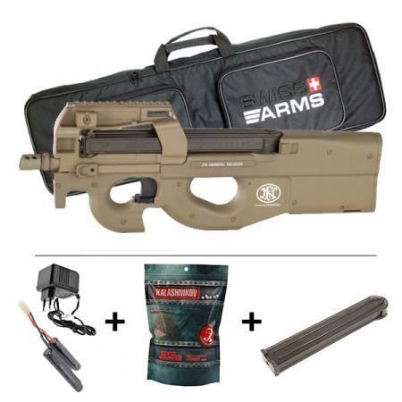 Pack Fusil FN Herstal P90 AEG TR FDE (200956) + 2 Chargeurs + Batterie 9.6v - 1100mAh + Chargeur + Sachet 4000 Billes 0.25g