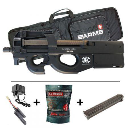 Pack Fusil FN Herstal P90 AEG TR Noir (200934) + 2 Chargeurs + Batterie 9.6v - 1100mAh + Chargeur + Sachet 4000 Billes 0.25g
