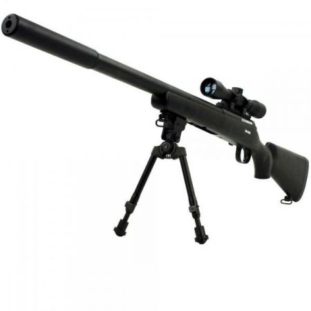 Pack Fusil Sniper FN Herstal SPR A5M Spring (200700) + Bi-Pied Aluminium (63613) + Lunette de visée 4x32 (263858) + Adaptateur Silencieux (203004) + Silencieux 213x40mm (605230)