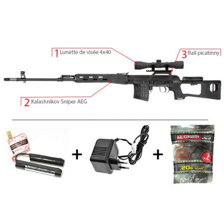 Pack Fusil Sniper King Arms Dragunov SVD Kalashnikov AEG + Rail + Lunette de vis�e 4x32 + Batterie + Chargeur + 5000 Billes