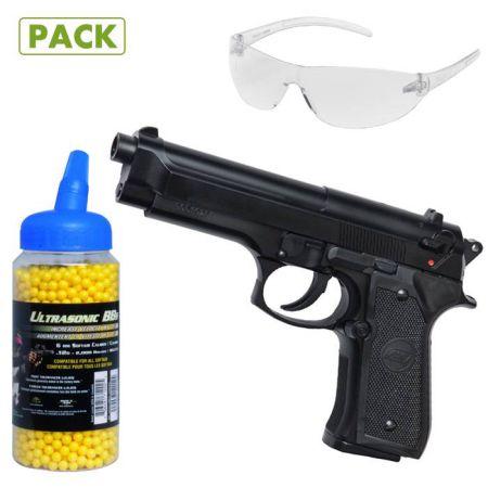 Pack Pistolet Bereta M92FS Spring + Lunettes de Protection + Biberon 2000 Billes Jaune 0.12g