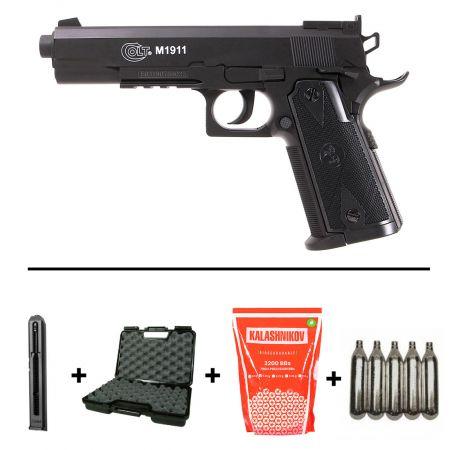 Pack Pistolet Colt 1911 (M1911) Co2 (180306) + 2 Chargeurs (185136) + 2 Cartouches Co2 + Housse Swiss Arms (604055) + Biberon 2000 Billes Blanche 0.20g (712020)