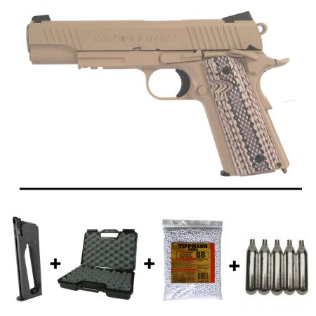 Pack Pistolet Colt 1911 M45 A1 Rail Gun Co2 TAN (180521) + 2 Chargeurs + 5 Cartouches Co2 + Malette de Transport + Biberon 2000 Billes 0.20g