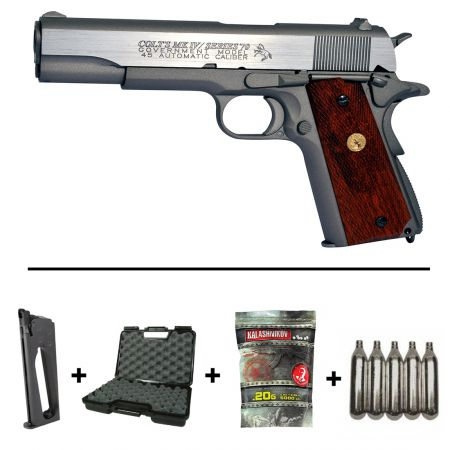Pack Pistolet Colt 1911 MK IV Series 70 Silver Co2 (180529) + + 2 Chargeurs + 5 Cartouches Co2 + Malette de Transport + Biberon 2000 Billes 0.20g