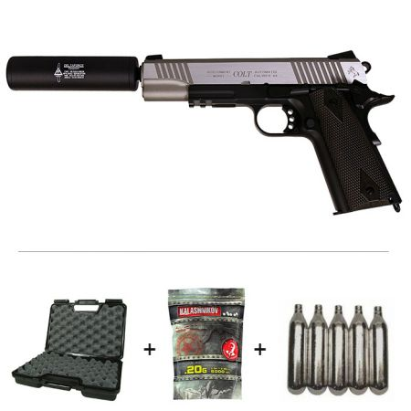 Pack Pistolet Colt 1911 Rail Gun Stainless Dual Tone Co2 (180531) + 2 Chargeurs + 5 Cartouches Co2 + Malette de Transport + Biberon 2000 Billes 0.20g
