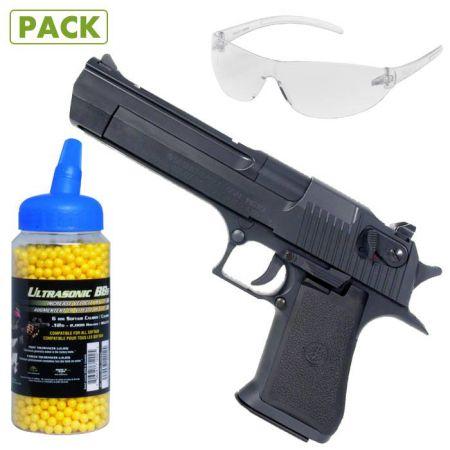 Pack Pistolet Desert Eagle 50 AE Spring + Lunettes de Protection + Biberon 2000 Billes Jaune 0.12g