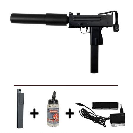 Pack Pistolet Mitrailleur Cobray Ingram MAC10 (M10) JG AEP (16262) + 2 Chargeurs + Biberon 2000 Billes 0.20g