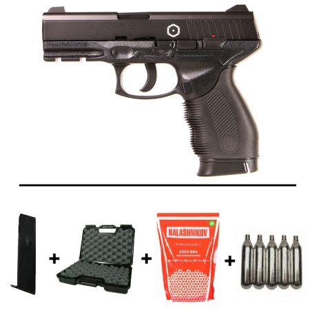Pack Pistolet Taurus PT24/7 (PT 24/7) CO2 KWC Culasse Métal 210303 + 2 Chargeurs + 5 Cartouches Co2 + Mallette de Transport + Biberon 2000 Billes 0.20g