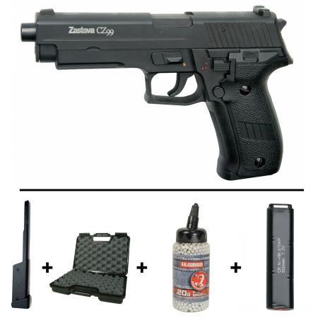Pack Pistolet Zastava CZ 99 Cyma CM122 AEP (16492) + Chargeur 90 Billes + Mallette + Biberon 2000 Billes Blanches 0.20g + 2 Batteries 5000mAh