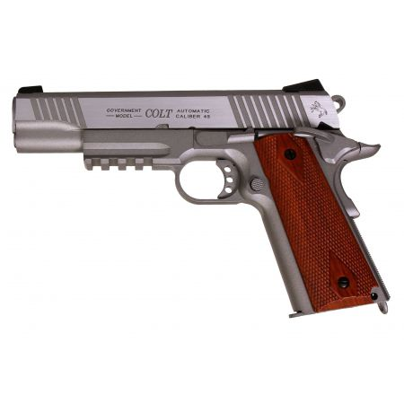 Pistolet Colt 1911 Rail Gun Stainless Silver Co2 Full Metal - Blowback - 180530