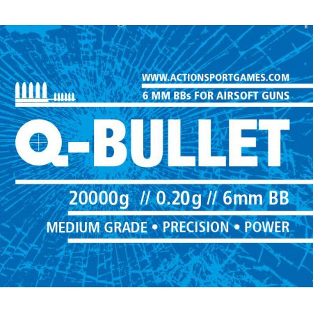 Sac 20 Kg Billes Monobloc Blanches 0.20gr Q-Bullet (Environs 100 000 Bbs) - 17646