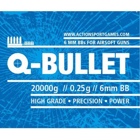 Sac 20 Kg Billes Monobloc Blanches 0.25gr Q-Bullet (Environs 80 000 Bbs) - 17647