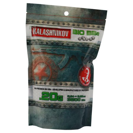 Sachet 3200 Billes (BBs) Bio Blanches 0.20g Kalashnikov - 123600