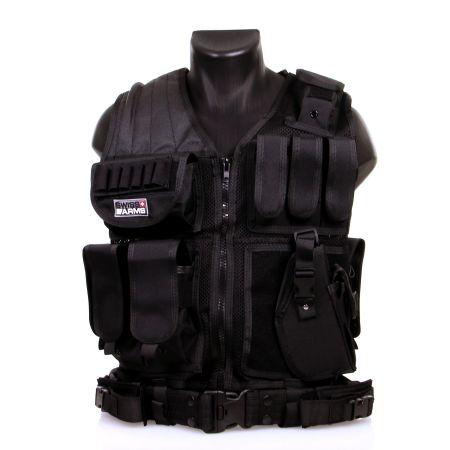Veste Tactique BT4 Noire Avec Ceinture Et Holster Swiss Arms 604054