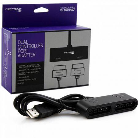 Adaptateur USB Pour 2 Manettes Super Nintendo Sur Pc Retrolink