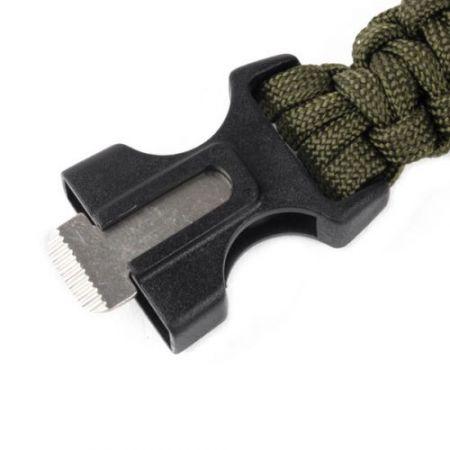 Bracelet Paracorde De Survie Noir avec Boussole & Allume feu