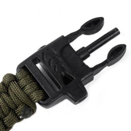 Bracelet Paracorde De Survie Vert avec Boussole & Allume feu