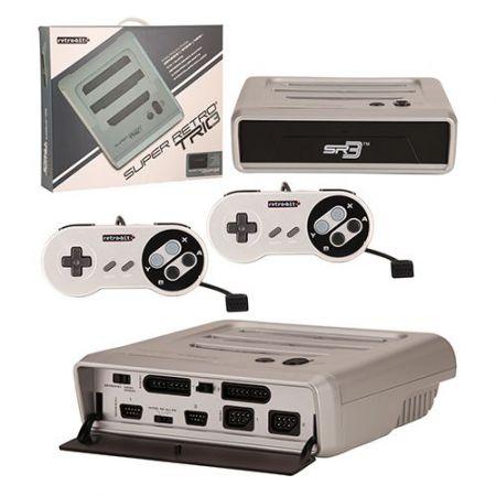 Console SR3 Super Retro Trio 3 SNES, Nintendo et Megadrive - Grise