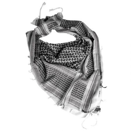Echarpe Shemagh Keffieh Cheche Palestiniens Noir et Blanc 110x110cm - Couvre Tete - Miltec 12613000