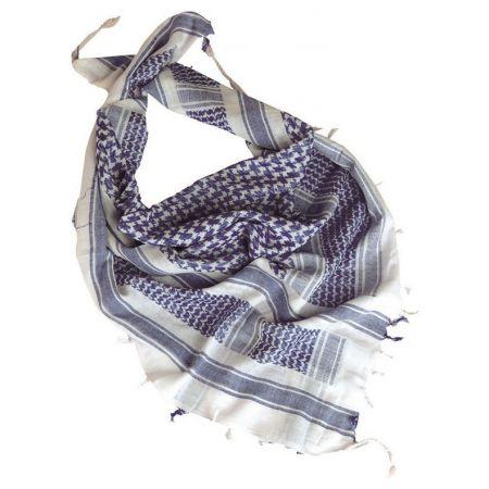 Echarpe Shemagh Keffieh (Kéfié) Cheche Blanc et Bleu 110x110cm - Couvre Tete - Miltec 12617000