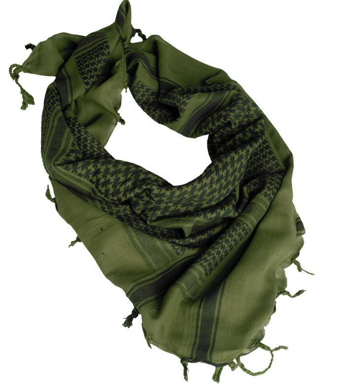 Echarpe Shemagh Keffieh (Kéfié) Cheche Vert Olive et Noir 110x110cm -  Couvre Tete - eb2727458a7
