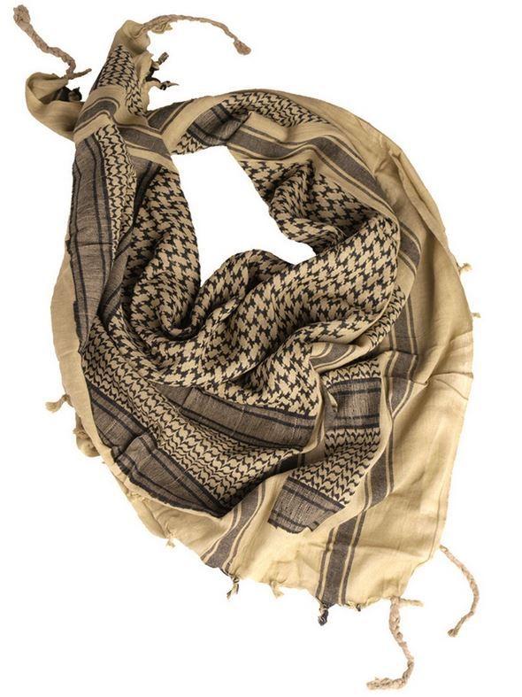 Echarpe Shemagh Keffieh (Kéfié) Kaki   Noir 110x110cm - Couvre Tete -  Miltec 12611000 3e179c4ba56