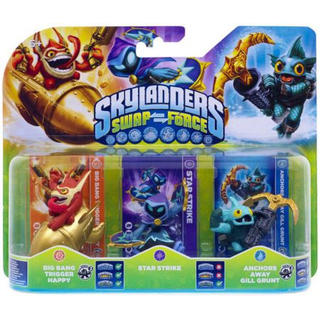 Figurines Skylanders Swap Force Big Bang Trigger Happy + Star Strike + Anchors Away Gill Grunt - SKY8677