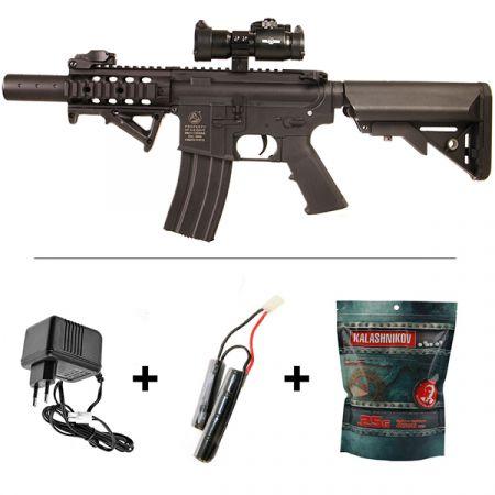 Fusil Colt M4 Special Forces CQB AEG Noir (180862) + Red Dot + Poignée Angulaire + Sachet 4000 Billes 0.25g