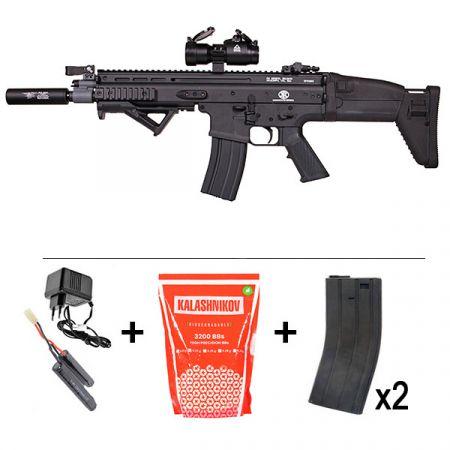 Fusil FN Herstal SCAR (SCAR-L) AEG Metal Noir (200954) + Red Dot Comp M2 + Silencieux + Poignée Angulaire + 2 Chargeurs + Sachet 5000 Billes 0.20g