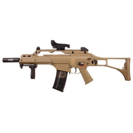 Fusil G36C AEG Golden Eagle - Tan + Red Dot + Silencieux + Poignée Verticale + Sachet 4000 Billes 0.25g