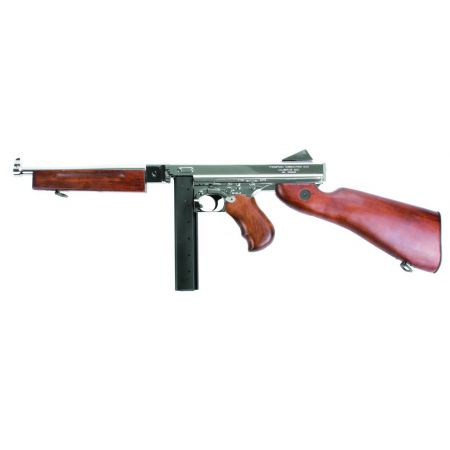Fusil King Arms Thompson M1928 M1A1 M1 A1 Military Full Metal & Bois - Silver - KA-AG-66-SV