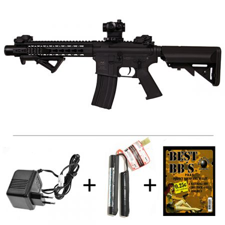 Fusil S&T M4KM M4 Keymod Metal 10 Pouces AEG + Red Dot Micro T1 + Batterie + Chargeur + Sachet 4000 Billes 0.25g