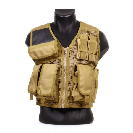 Gilet Veste Tactique Recon Multi Poche avec Holster - Coyote - 911304