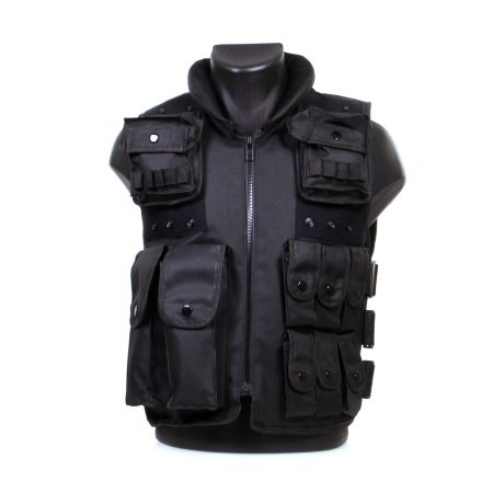 Gilet Veste Tactique SWAT POLICE Noire - Multipoche - AIR8221