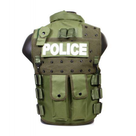 Gilet Veste Tactique SWAT POLICE Olive - Multipoche