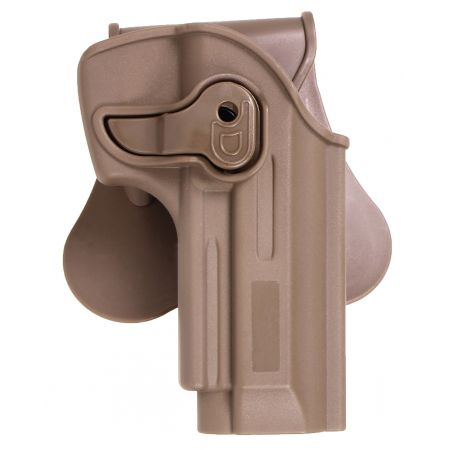 Holster Paddle CQC Rigide Polymere Tan Droitier Replique Type M9 M92 - Rotatif - 18430
